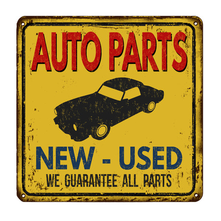 metal parts: Auto parts vintage rusty metal sign on a white background, vector illustration