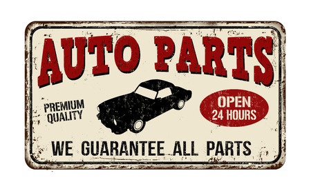 advertising signs: Auto parts vintage rusty metal sign on a white background, vector illustration