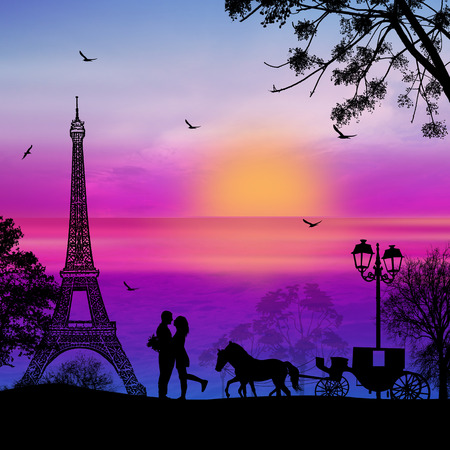 Carriage and lovers in Paris on blue sunset in front of full moon, romantic background, vector illustration
