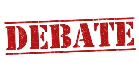 deliberation: Debate grunge rubber stamp on white background, vector illustration