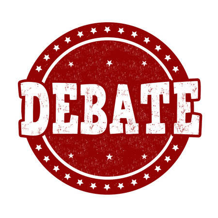 debate: Debate grunge rubber stamp on white background, vector illustration