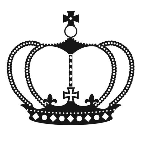 kingly: Black crown on white background, vector illustration Illustration