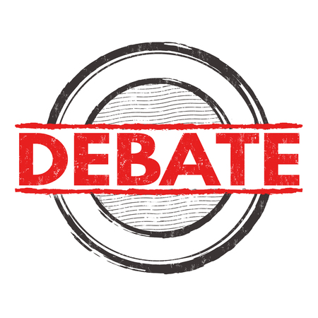 controversy: Debate grunge rubber stamp on white background, vector illustration