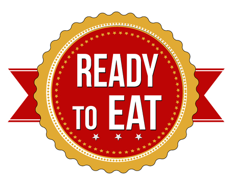 ready cooked: Ready to eat sticker on white background, vector illustration