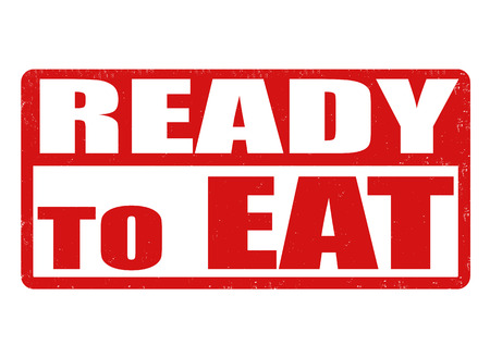 ready cooked: Ready to eat grunge rubber stamp on white, vector illustration