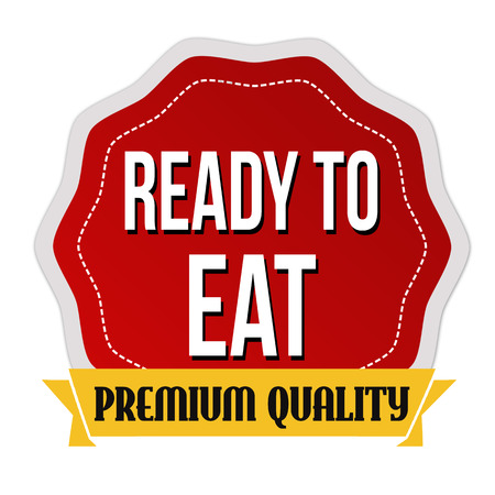 Ready to eat sticker on white background, vector illustration