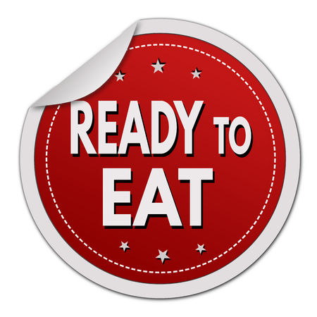 made to order: Ready to eat sticker on white background, vector illustration
