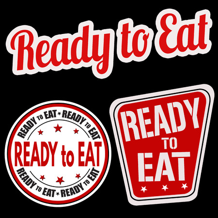 ready cooked: Ready to eat sticker set on black background, vector illustration Illustration