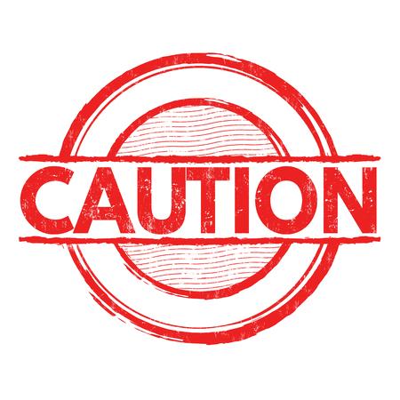 caution: Caution grunge rubber stamp on white background, vector illustration Illustration