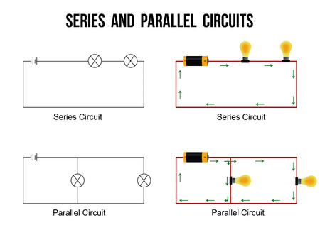Series and parallel circuits on white background (Helpful for basic Education & Schools), vector illustration