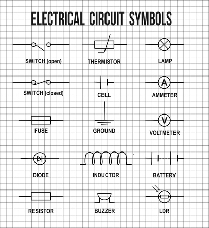 electronic components: Electrical circuit symbols on on math paper texture background  (Helpful for basic Education & Schools), vector illustration Illustration