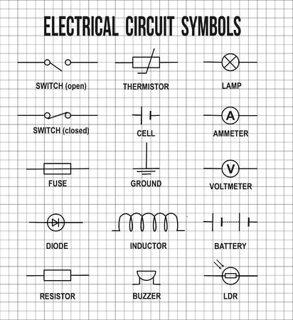 componentes: símbolos de circuitos eléctricos en matemáticas en el fondo de textura de papel (de gran ayuda para la educación básica y Escuelas), ilustración vectorial Vectores