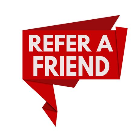 refer: Refer a friend red origami speech bubble on white background, vector illustration Illustration