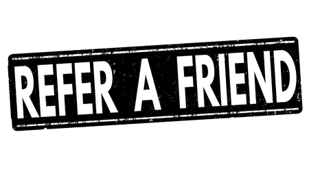 Consulte un sello de goma del grunge amigo en el fondo blanco, ilustración vectorial