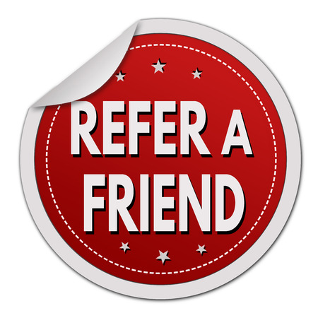 Refer a friend sticker on white background, vector illustration