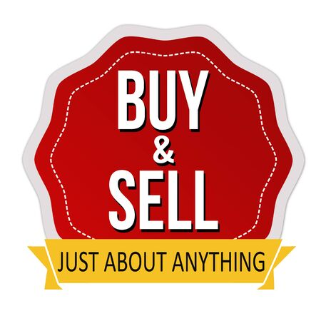 white sticker: Buy and sell sticker on white  on white background, vector illustration