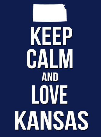 keep: Keep calm and love Kansas poster, vector illustration