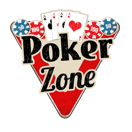 Poker zone vintage rusty metal sign on a white background, vector illustration
