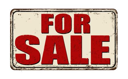 For sale vintage rusty metal sign on a white background, vector illustration Illustration