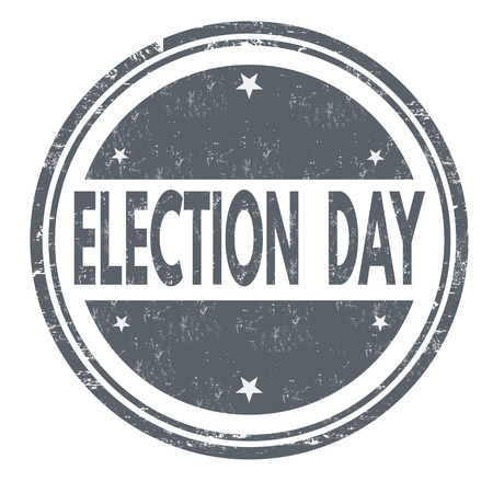 electioneering: Election Day grunge rubber stamp on white background, vector illustration