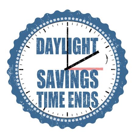 daylight: Daylight saving time ends grunge rubber stamp on white background, vector illustration
