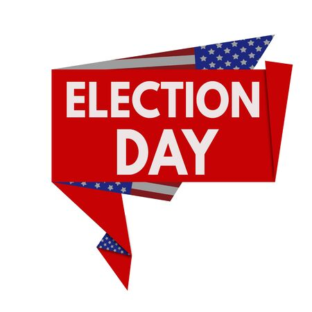 electioneering: Election Day red origami speech bubble on white background, vector illustration