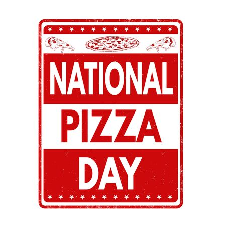national: Pizza day grunge rubber stamp on white background, vector illustration
