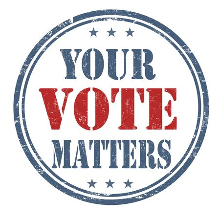 Your Vote Matters grunge rubber stamp on white background, vector illustration Çizim