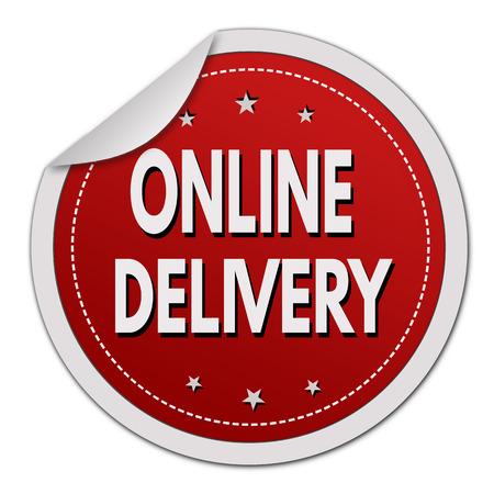 white sticker: Online delivery sticker on white background, vector illustration Illustration