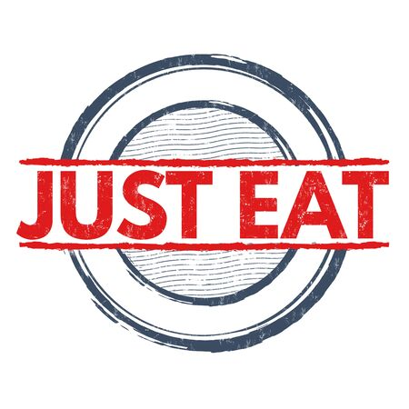 consume: Just eat grunge rubber stamp on white background, vector illustration Illustration