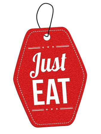 Just eat red leather label or price tag on white background, vector illustration