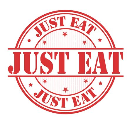 Just eat grunge rubber stamp on white background, vector illustration