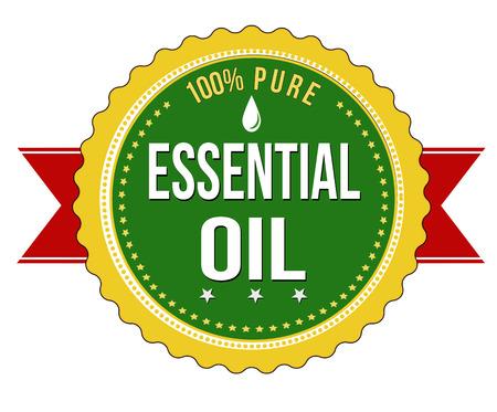 100% reines ätherisches Öl Etikett oder Stempel auf weißen Hintergrund, Vektor-Illustration