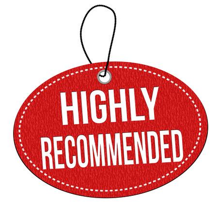Muy recomendable la etiqueta de cuero rojo o etiqueta de precio en el fondo blanco, ilustración vectorial Ilustración de vector