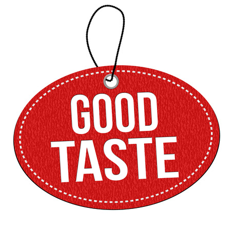 Good taste red leather label or price tag on white background, vector illustration