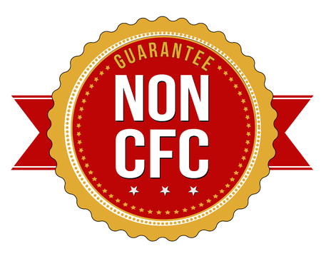 pollution free: Non CFC product label or sticker on white background, illustration
