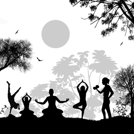 outdoor sport: Yoga meditation silhouettes at beautiful sunset landscape on white, vector background Illustration