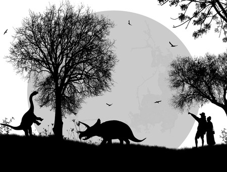 couple lit: Dinosaurs silhouettes in beautiful landscape on white background, vector illustration
