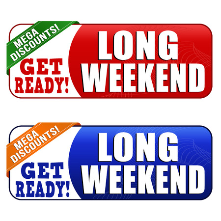 long weekend: Long weekend banners on white background, vector illustration