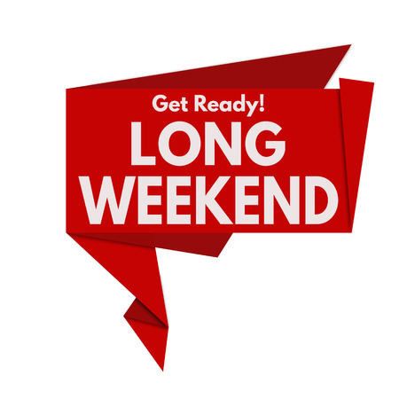 long weekend: Long weekend origami speech bubble on white background, vector illustration
