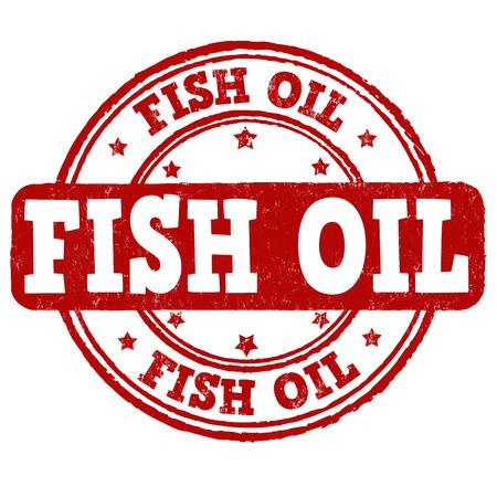 Fish oil grunge rubber stamp on white background, vector illustration