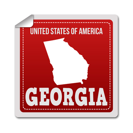 white sticker: Georgia sticker or label on white background, vector illustration