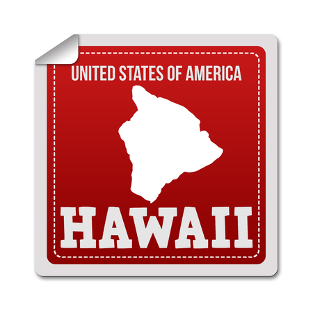 identifier: Hawaii sticker or label on white background, vector illustration