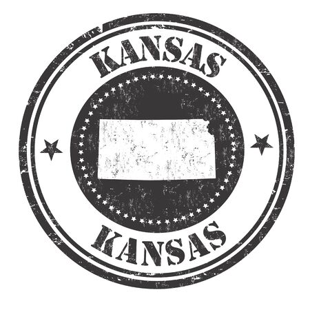 imprinted: Grunge rubber stamp with the name and map of Kansas, vector illustration Illustration