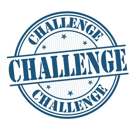 Challenge-Grunge-Stempel auf weißem Hintergrund, Vektor-Illustration