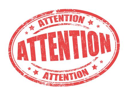 poner atencion: grunge sello de goma atención sobre fondo blanco, ilustración vectorial Vectores