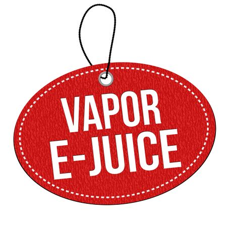 Vapor e-juice red leather label or price tag on white background, vector illustration Illustration