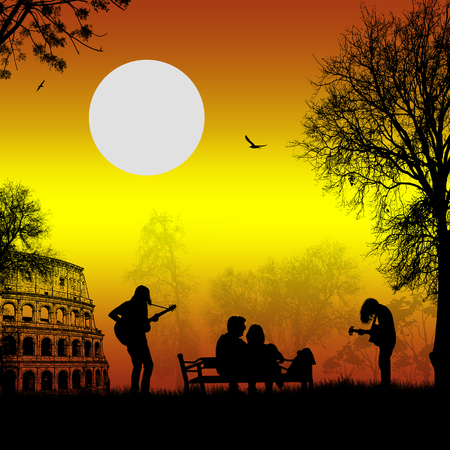 Guitarists playing in Rome on beautiful landscape with lovers on sunset, vector illustration Illustration