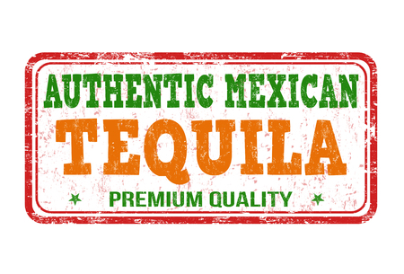 Tequila grunge rubber stamp on white background, vector illustration