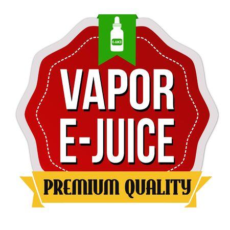 Vapor e-juice label or sticker on white background, vector illustration